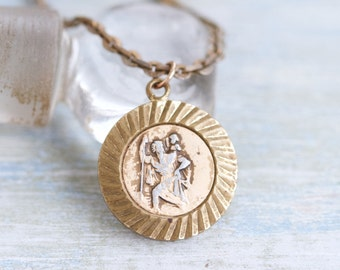 Old St Christopher Medallion Necklace - Antique Religious Icon