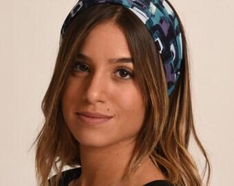 navy hairband / blue stretch headband / fall headband / tie  in the back turban made in Israel