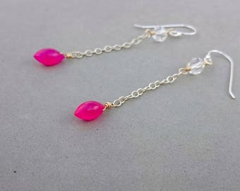 Hot Pink Chalcedony Earrings - Swarovski Crystal Earrings with Sterling Silver and Gold Fill