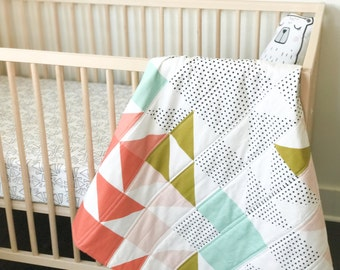 Crib Blanket Blush Geometric Quilt - Blush, Gold, Coral, Aqua Triangle Quilt - Crib Blanket - Triangle Quilt - Geometric Baby Blanket -Blush