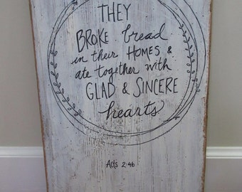 Christian WORD Art Wall Art Large Reclaimed Wood Sign - Acts 2-46 They Broke Bread and Ate Together