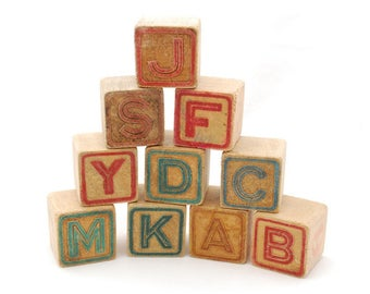 "Vintage 1940's ABC Wood Stacking Blocks Lot of 10 Large Alphabet Letter Blocks - 1 3/4"" Square Cubes - Carved Letters - Stamped Ink Letters"
