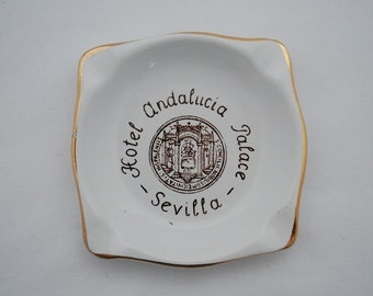 Vintage Hotel Andalucia Palace Sevilla Ashtray - 1960's Cartuja Pottery Spain - Travel Souvenir Collectible