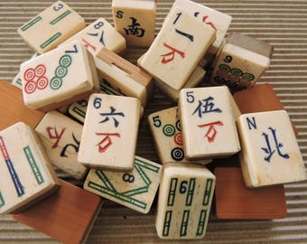 Lot of 25 Vintage 1940's era Bone & Bamboo Mahjong Tiles - Great for Crafts, Supplies, Altered Art