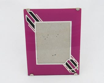 "Vintage Art Deco Reverse Painted Glass Photo Picture Frame - 6"" by 4 1/2"" - 1930's - 1940's - Easel Back - Fuchsia Magenta"