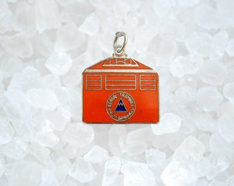 Vintage Aerial Tramway Palm Springs Silver Metal and Enamel Charm - 1960's Souvenir - Small Pendant - Japan