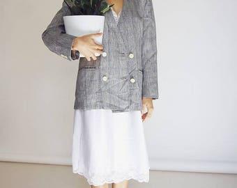80's Grey Linen Oversized Blazer