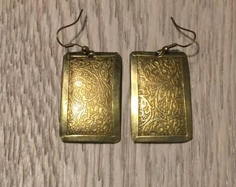 Brass Earrings with Embossed pattern