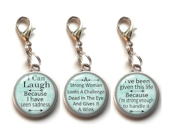 3, Clip On Charms, STRONG WOMAN, Dangle Charm, Lobster Clasp, Inspirational, Motivational, Quotes, Sayings, Antique Silver Color