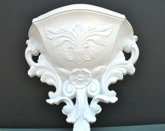 Shabby Chic French ORNATE White Wall Pocket Planter Paris Apartment Modern Nursery Wall Decor