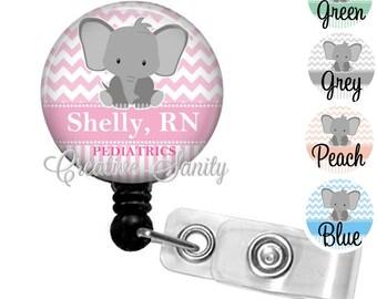 Retractable Pediatric Nurse Badge, Darling Elephant Chevron, NICU, L&D Nurse, Choice of Badge Reel, Carabiner,Lanyard, Stethoscope ID Tag