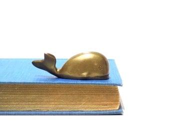 Vintage Mini Brass Whale