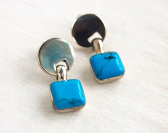 Mexican Turquoise Earrings Vintage Sterling Silver Dyed Howlite Modern Dangles Geometric Jewelry