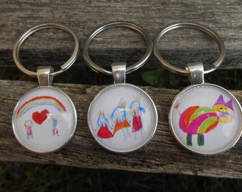 YOUR CHILD'S Art Work Keychain. Unique Gift, Mother's Day, Father's Day, Wedding, Men, Women, Anniversary, Birthday. Silver. Photo