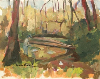 "original oil painting, ""Fishing by the stream""  Landscape painting, Autumn landscape, Fall colors"