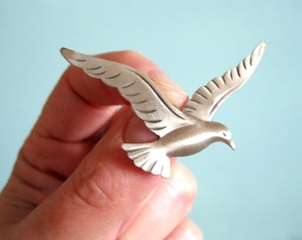Vintage Bird Pin Beau Brooch Sterling Seagull signed ocean seabird collectible hat scarf lapel pin collectible gifts her under 20 dollars