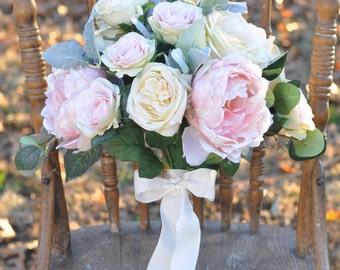 Bouquet, Wedding Bouquet, Bride, Wedding, Bridal Bouquet, Decoration, Flowers, Peony, Dusty Miller, Rose, Faux Flowers