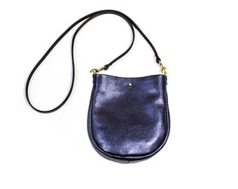 SUZIE Small Leather Purse. Metallic Leather Bag. Leather Crossbody Bag