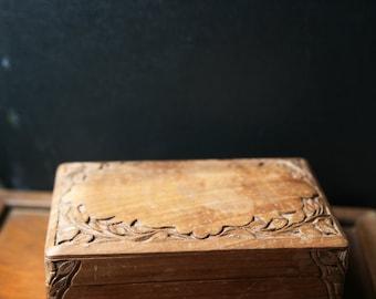 Vintage Jewelry Box / Vintage Secret Stash Box / Vintage Trick Box /  Vintage Wooden Jewelry Box  / Carved Jewelry Box / Trinket Box