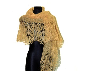 Golden Hand Knit Lace Shawl, Knit Lace Wedding Shawl, Womens Hand Knitted Shawl, Hand Knit Lace Shawl, Mohair Hand Knitted Shawl
