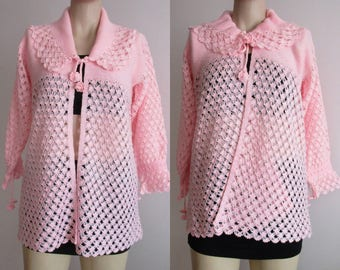 80s Hand Crocheted Cardigan Womens Pink Cardigan Evening jacket lacey hand knitted pink cardigan top maternity Cardigan Winter Jacket Medium