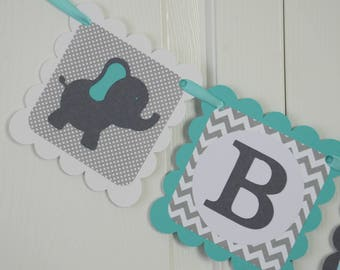 Elephant Baby Banner, Baby sign, Baby shower sign, Teal and Grey Banner, Elephant Theme, Boy or girl Elephant