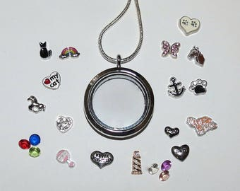 PawInspiredCreations/Create Your Floating Charms Memory Locket/30mm Round Glass Locket/5 Charms/4 Crystals/Choose your Charms & Crystals