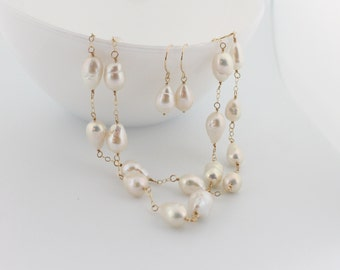 Flameball pearl necklace, drop earrings, set, long, double, white, bridal, wedding jewelry, freshwater, handcrafted, gold: Simply Adorned