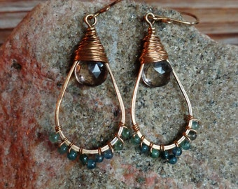 Slopes. Hammered Artisan Boho Gold Brass Chandelier Earrings with Wire Wrapped Smoky Quartz and Smooth Aquamarine Gemstones. Boho Gypsy Gift