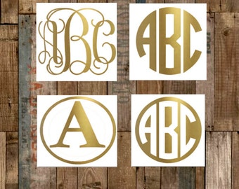 Gold Monogram Decal–Gold Vinyl Decal–Gold Vinyl Monogram–Gold Yeti Decal–Shiny Gold Decal–Personalized Decal–Car Decal-60+ Additional Colors