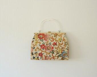 Vintage Rare 1950's 3 in 1 - L & M by Edwards Floral Handbag, Purse / ITEM481
