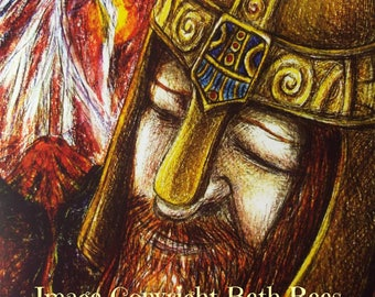 Thor Greeting Card, Norse Card, Pagan Greeting Card, Blank Card, Birthday Card,  Printed Art Card, Eco Card, Asatru Art Card, Heathen