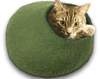FREE SHIP Cave bed for cat dog ferret rabbit hamster - Green - ships next day from usa / Cat Bed / Pet Bed / Hand Felted Wool