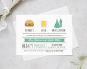 """Printable """"I Do"""" Barbecue Invitation, Couples Shower, Rehearsal BBQ"""