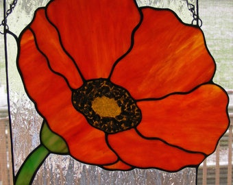Stained Glass Suncatcher - Poppy - 10 in. square