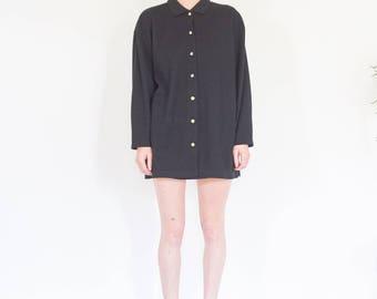 90s Minimal Black Long Sleeve Button Up Shirt / Oversize Shirt Dress