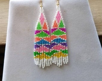 Native American Style Beaded Stain Glass Earrings Seed Beads Southwestern, Brick Stitch, Peyote Boho, Hippie, Gypsy Ready to Ship
