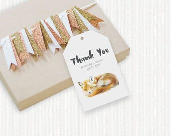 Fox Birthday Party Thank You Tag, Baby Animal Theme, Woodland Baby Shower, Cute Fox