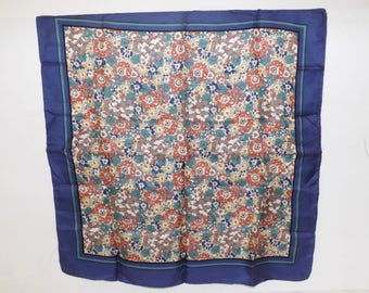 Vintage 1980s Liberty of London silk floral flower square scarf designer blue cream green