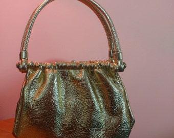 1950s Gold Metallic Leather? Handbag  50s 60s