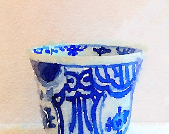 Blue and White Cup Print