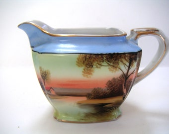 Vintage Creamer and Tray,Ceramic,Noritake,Hand Painted, Made in Japan