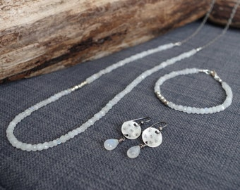 """3-piece Moonstone and Sterling Silver jewelry set - ON SALE - 36"""" long necklace, bracelet & earrings - Artisan Moonstone jewelry"""
