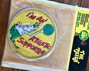Vintage 70s 80s Patch - I'm An Athletic Supporter - Iron-On Embroidered Patch