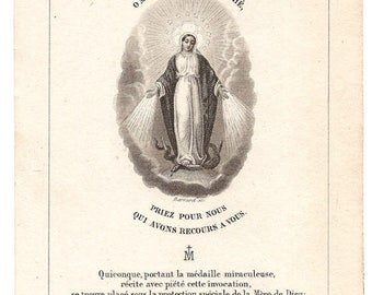 1861 Miraculous Medal Engraving French Holy Prayer Card, Catholic Devotional Card, from Vintage Paper Attic