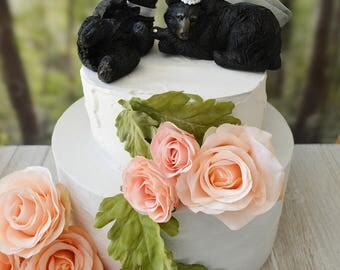 bear hunter black bear lover wedding cake topper themed hunting groom bride the hunt is over cake topper centerpiece country woodland rustic