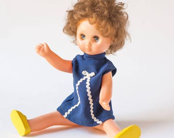 Soviet girl's doll plastic, brown curly doll toy, mid size doll sleepy eyes, 70s USSR doll navy dress, twist hands legs neck doll old decor
