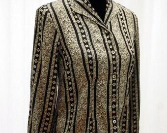 Paisley Pyjama Style Stripey Blouse. 100% Silk. Vintage. 1980's. By Petite Sophisticate.