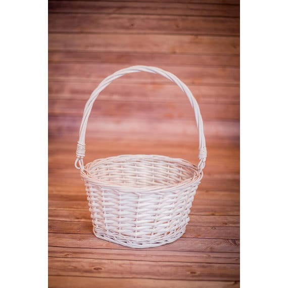 white wicker easter basket with folding handles collipsible. Black Bedroom Furniture Sets. Home Design Ideas