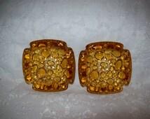 Vintage Amber Bubble Pebble Art Glass Ashtrays by Blenko Mid Century Pair Just 12 USD